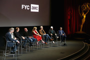 (L-R) Michael Schneider, Peter Gould, Bob Odenkirk, Jonathan Banks, Rhea Seehorn, Patrick Fabian, Michael Mando and Giancarlo Esposito speak onstage during the Better Call Saul FYC Event at the Television Academy on March 26, 2019 in North Hollywood, California.