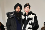 Designer Waris Ahluwalia and Amy Fine Collins attend the Bibhu Mohapatra front row during New York Fashion Week: The Shows at Gallery II at Spring Studios on February 9, 2018 in New York City.