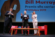 (L-R) Antonio Monda, Bill Murray and Wes Anderson at Lifetime Achievement Award during the 14th Rome Film Festival on October 19, 2019 in Rome, Italy.