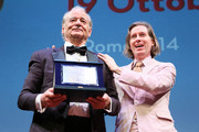 Bill Murray is awarded by Wes Anderson with Lifetime Achievement Award during the 14th Rome Film Festival on October 19, 2019 in Rome, Italy.
