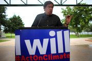 Bill Richardson, former Governor of New Mexico, speaks during a climate change rally on August 9, 2013 in Miami, Florida. The governor was joined by local elected officials and community advocates to highlight the impacts of extreme weather and climate change in South Florida and call for bold federal action on climate solutions.