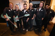 (L-R) Guitarist Brad Davis, bassist Raymond Hardy, drummer Eric Rhoades, singer/actor Billy Bob Thornton, guitarist J.D. Andrew and keyboardist Teddy Andreadis of Billy Bob Thornton & The Boxmasters pose backstage before a concert inside Rocks Lounge at the Red Rock Resort on August 10, 2019 in Las Vegas, Nevada.
