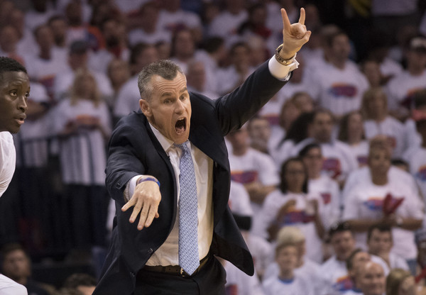 Houston Rockets v Oklahoma City Thunder - Game Four [photograph,coach,gesture,championship,event,applause,crowd,sport venue,audience,fan,billy donovan,four,user,game four,oklahoma city thunder,houston rockets,game action,quarterfinals,half]