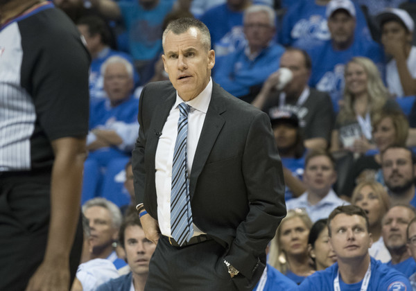 New York Knicks v Oklahoma City Thunder [team sport,coach,championship,sports,crowd,sport venue,ball game,event,audience,competition event,billy donovan,user,user,note,call,oklahoma city,oklahoma city thunder,new york knicks,game,half]