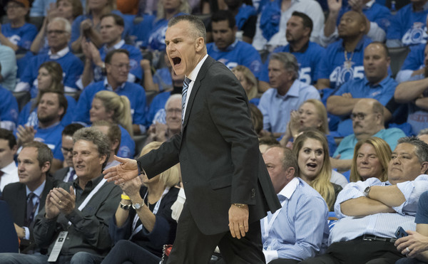New York Knicks v Oklahoma City Thunder [photograph,audience,crowd,event,sport venue,championship,fan,gesture,team sport,competition event,applause,user,billy donovan,user,note,oklahoma city,oklahoma city thunder,new york knicks,half,game]