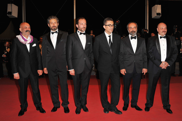 "(L-R) Ercan Kesal, Taner Birsel, Muhammet Uzuner, Nuri Bilge Ceylan, Yilmaz Erdogan, and Ahmet Mumtaz Taylan attends the ""Bir Zamanlar Anadolu'Da"" Premiere at Palais des Festivals during the 64th Annual Cannes Film Festival on May 21, 2011 in Cannes, France."