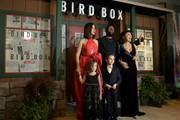 """(L-R back row) Actors Sandra Bullock and Trevante Rhodes, executive producer Susanne Bier, and (front row) actors Vivien Lyra Blair and Julian Edwards attend the New York screening of """"Bird Box"""" at Alice Tully Hall, Lincoln Center on December 17, 2018 in New York City."""