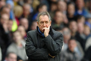 Gerard Houllier of Aston Villa looks on during the Barclays Premier League match between Birmingham City and Aston Villa at St Andrews on January 16, 2011 in Birmingham, England.