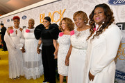 (L-R) Maria Hamilton, Cleopatra Cowley-Pendleton, Monica, Lucy McBath, Gwen Carr, and Sybrina Fulton attend Black Girls Rock 2019 Hosted By Niecy Nash at NJPAC on August 25, 2019 in Newark, New Jersey.on August 25, 2019 in Newark, New Jersey.