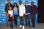 "(L-R) Actor Kevin Costner, actress Jillian Estell, actress Octavia Spencer, actor Anthony Mackie, director Mike Binder and actor Mpho Koaho poses at ""Black And White"" Press Conference during the 2014 Toronto International Film Festival at TIFF Bell Lightbox on September 7, 2014 in Toronto, Canada."