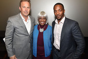 "(L-R) Kevin Costner, Monica Pearson and Anthony Mackie attend ""Black or White"" red carpet screening at Regal Atlantic Station on January 22, 2015 in Atlanta, Georgia."