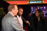 "(L-R) Kevin Costner, Anthony Mackie and Tammie Reed attend ""Black or White"" red carpet screening at Regal Atlantic Station on January 22, 2015 in Atlanta, Georgia."