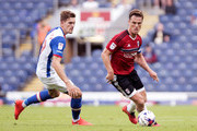 Scott Parker of Fulham and Sam Gallagher of Blackburn Rovers in action during the Sky Bet Championship match between Blackburn Rovers and Fulham at Ewood park on August 27, 2016 in Blackburn, England.