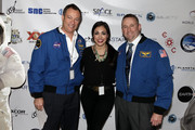 (L-R) Astronaut Michael Lopez-Alegria, Kellie Gerardi, and astronaut Ken Ham attend Blast Off: The Future of Spaceflight at The Explorers Club on May 1, 2014 in New York City.