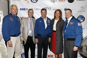 (L-R) Astronaut Mike Massimino, Ted Janulis, astronaut Michael Lopez-Alegria, guest, and astronaut Ken Ham attend Blast Off: The Future of Spaceflight at The Explorers Club on May 1, 2014 in New York City.