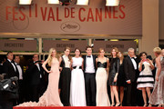 (L-R) Actresses Claire Julien, Taissa Farmiga and Katie Chang, actor Israel Broussard, actress Emma Watson and director Sophia Coppola attend 'The Bling Ring' premiere during The 66th Annual Cannes Film Festival at the Palais des Festivals on May 16, 2013 in Cannes, France.