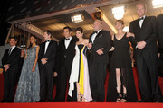 (L-R) Billy Crudup, Zoe Saldana, Guillaume Canet, Clive Owen, Marion Cotillard, James Caan, Lily Taylor and Noah Emmerich attend the 'Blood Ties' Premiere during the 66th Annual Cannes Film Festival at the Palais des Festivals on May 20, 2013 in Cannes, France.