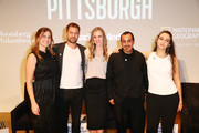 """(L-R) Producer Lindsay Firestone, Joshua Jackson, LA Chief Sustainability Officer Lauren Faber O'Connor, David Andrade and Zero Hour Co-Founder Jamie Margolin attend Bloomberg Philanthropies & RadicalMedia Host The Los Angeles Premiere Of """"Paris To Pittsburgh"""" at Museum Of Contemporary Art on December 03, 2018 in Los Angeles, California."""