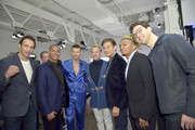 Richie Lamontagne, Mike Woods, Alex Lundqvist, Carson Kressley, Dr. Oz, Buster Skrine and Dr. Mike attend The Blue Jacket Fashion Show during NYFW at Pier 59 Studios on February 05, 2020 in New York City.
