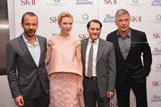 (L-R) Peter Sarsgaard, Cate Blanchett, Michael Stuhlbarg and Alec Baldwin attend the 'Blue Jasmine' New York Premiere at the Museum of Modern Art on July 22, 2013 in New York City.