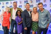 Anthea Turner, John Leslie, Diane-Louise Jordan, Tim Vincent, Katy Hill and Richard Bacon attend the 'Blue Peter Big Birthday' celebration at BBC Philharmonic Studio on October 16, 2018 in Manchester, England.