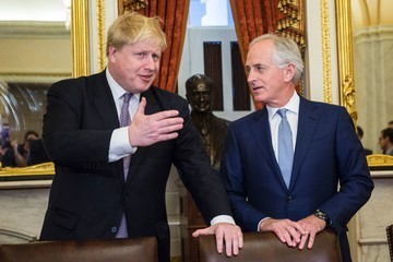 Bob Corker UK Foreign Secretary Boris Johnson Meets With Congressional Leaders On Capitol Hill