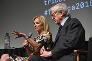 "Kerry Kennedy (L) and Ambassador William Vanden Heuvel speak onstage at ""Bobby Kennedy For President"" Red Carpet Premiere during 2018 Tribeca Film Festival at SVA Theater on April 25, 2018 in New York City."