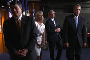 U.S. Speaker of the House John Boehner (R-OH) (R) leaves a news conference on the debt limit impasse with (L-R) Conference Chairman Rep. Jeb Hensarling (R-TX), Rep. Renee Ellmers (R-NC) and Majority Whip Kevin McCarthy (R-CA) at the U.S. Capitol July 28, 2011 in Washington, DC. Boehner's plan to solve the debt limit impasse is scheduled for a vote in the House of Representatives later this afternoon.