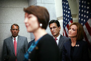 (L-R) U.S. Speaker of the House Rep. John Boehner (R-OH), House Republican Conference Vice Chair Rep. Cathy McMorris Rodgers (R-WA), House Majority Leader Rep. Eric Cantor (R-VA), and Rep. Nay Hayworth (R-NY) attend a news conference July 10, 2012 on Capitol Hill in Washington, DC. House Republican leadership discussed President Obama's push to extend tax cut for middle class families and the repeal of Obamacare law.