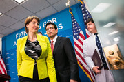 U.S. Rep. Cathy McMorris Rodgers (R-WA) and House Majority Leader Rep. Eric Cantor (R-VA)  (C) leave a press conference, on Capitol Hill, July 9, 2013 in Washington, DC. The Republican leadership discussed the immigration bill and the Obama administration's decision to delay a portion of the Affordable Care Act, which will extend the deadline for employer mandated health care to 2015.