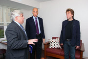 (L-R) HELP USA President Laurence Belinsky, City of Newark Mayor Cory Booker and musician Jon Bon Jovi attends the opening of affordable housing funded through Bon Jovi's JBJ Soul Foundation on December 8, 2009 in Newark, New Jersey.