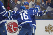 Tomas Plekanec #19 of the Toronto Maple Leafs celebrates his goal with teammate Mitchell Marner #16 against the Boston Bruins in Game Six of the Eastern Conference First Round in the 2018 Stanley Cup Play-offs at the Air Canada Centre on April 23, 2018 in Toronto, Ontario, Canada. The Maple Leafs defeated the Bruins 3-1.
