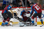 Goalie Semyon Varlamov #1 of the Colorado Avalanche makes a save on a shot by Dennis Seidenberg #44 of the Boston Bruins as Jan Hejda #8 and Maxime Talbot #25 of the Colorado Avalanche follow the play at Pepsi Center on January 21, 2015 in Denver, Colorado. The Avalanche defeated the Bruins 3-2 in an overtime shootout.