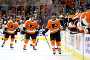 Claude Giroux #28 of the Philadelphia Flyers celebrates after scoring a first period goal against the Boston Bruins at Wells Fargo Center on April 1, 2018 in Philadelphia, Pennsylvania.