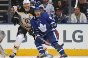 Zdeno Chara #33 of the Boston Bruins skates against Tomas Plekanec #19 of the Toronto Maple Leafs in Game Six of the Eastern Conference First Round in the 2018 Stanley Cup Play-offs at the Air Canada Centre on April 23, 2018 in Toronto, Ontario, Canada.