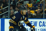 Kyle Okposo #21 of the Buffalo Sabres during the game against the Boston Bruins at the KeyBank Center on October 4, 2018 in Buffalo, New York.