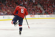 Alex Ovechkin #8 of the Washington Capitals celebrates a goal against the Boston Bruins at Capital One Arena on October 3, 2018 in Washington, DC.