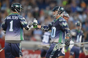 Joe Walters #1 and Matt Danowski #40 celebrate a goal in the second period during a MLL Lacrosse game against the Boston Cannons at Navy-Marine Corps Memorial Stadium on July 16, 2015 in Annapolis, Maryland.