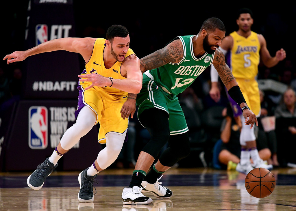 Marcus Morris Larry Nance Jr Marcus Morris And Larry Nance Jr Photos Boston Celtics V Los Angeles Lakers Zimbio