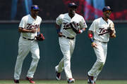 (L-R) Aaron Hicks #32, Torii Hunter #48 and Eddie Rosario #20 of the Minnesota Twins celebrate a win of the game against the Boston Red Sox on May 27, 2015 at Target Field in Minneapolis, Minnesota. The Twins defeated the Red Sox 6-4.