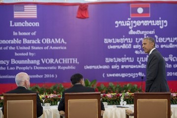 Bounnhang Vorachith Barack Obama in Laos on First Ever Visit by a US President