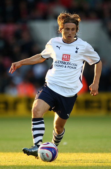 Luka Modric of Tottenham Hotspur in action during a Friendly match between Bournemouth and Tottenham Hotspur at Fitness first Stadium on July 17, 2009 in Bournemouth, England.