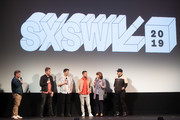 "Dave Holmes, Aaron Kunkel, Matthew Charles Ducey, Lance Bass, Diane Bass, and Joey Fatone attend the ""The Boy Band Con: The Lou Pearlman Story"" Premiere - 2019 SXSW Conference and Festivals at Paramount Theatre on March 13, 2019 in Austin, Texas."