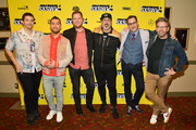 "Matthew Charles Ducey, Lance Bass, Aaron Kunkel, Joey Fatone, Nicholas Caprio, and Dave Holmes attend the ""The Boy Band Con: The Lou Pearlman Story"" Premiere - 2019 SXSW Conference and Festivals at Paramount Theatre on March 13, 2019 in Austin, Texas."