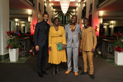 "(L-R) Director Chiwetel Ejiofor, Aissa Maiga, William Kamkwamba and Maxwell Simba attend the premiere for the screening of the Netflix film ""The Boy Who Harnessed The Wind"" during the 69th Berlinale International Film Festival Berlin at Friedrichstadtpalast on February 12, 2019 in Berlin, Germany."