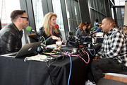 Timbaland is interviewed during radio remotes at the Brad Paisley LOVE AND WAR Album Launch and 2017 Sarah Cannon Band Against Cancer Event on April 24, 2017 in Nashville, Tennessee.