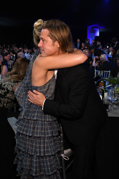 26th Annual Screen Actors Guild Awards - Inside [fashion,event,dress,fun,shoulder,joint,design,human body,leg,dance,brad pitt,margot robbie,screen actors guild awards,l-r,los angeles,california,the shrine auditorium,screen actors\u00e2 guild awards,brad pitt,once upon a time in hollywood,screen actors guild awards,shrine auditorium and expo hall,actor,sag-aftra,screen actors guild,celebrity,television]