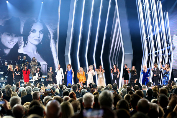 The 53rd Annual CMA Awards - Show [the highwomen,event,crowd,performance,sky,concert,stage,choir,audience,musical ensemble,music,karen fairchild,kimberly schlapman,reba mcentire,dolly parton,carrie underwood,martina mcbride,little big town,cma awards,show]