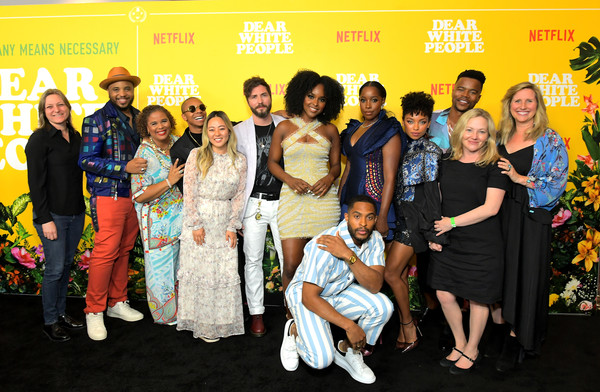 Premiere Of Netflix Original Series 'Dear White People' Volume 3 [dear white people,social group,event,fashion,fun,premiere,carpet,fashion design,flooring,series,yvette lee bowser,justin,cindy holland,premier,irene lee,volume,netflix,premiere]