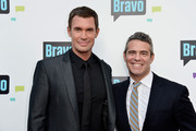 """(L-R) Television Personalities Jeff Lewis and Andy Cohen arrive at Bravo Media's 2013 """"For Your Consideration"""" Emmy Event at Leonard H. Goldenson Theatre on May 22, 2013 in North Hollywood, California."""